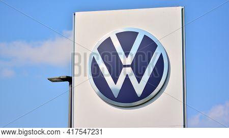 Warsaw, Poland. 19 April 2021. Sign Volkswagen. Company Signboard Volkswagen.