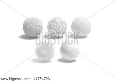 Blank White Wicker, Knitted, Canvas, Velvet And Leather Ball Mockup, 3d Rendering. Empty Textile Mat