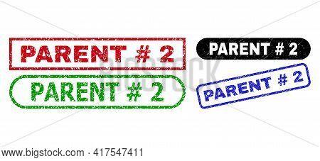 Parent Hashtag 2 Grunge Watermarks. Flat Vector Textured Watermarks With Parent Hashtag 2 Text Insid