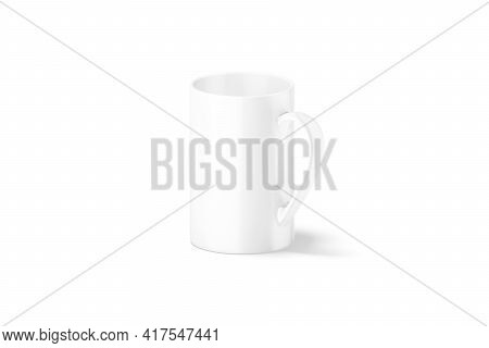 Blank Ceramic Narrow 11oz Mug With Handle Mockup, Side View, 3d Rendering. Empty Porcelain Utensil F