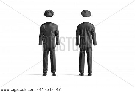 Blank Black Chef Uniform Mock Up, Front And Back View, 3d Rendering. Empty Workwear For Restaurant C