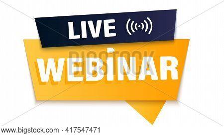 Webinar, Video Broadcast. Seminar Live. Baner, Badge, Sticker Of Online Training, Live Lessons. Busi