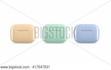 Blank Colored Small Headphones Case Mockup Stand, Front View, 3d Rendering. Empty Yellow, Green And