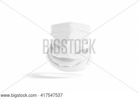 Blank White Neck Gaiter Mockup, Front View, No Gravity, 3d Rendering. Empty Protection Face Mask Or