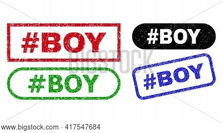 Hashtag Boy Grunge Seal Stamps. Flat Vector Scratched Seal Stamps With Hashtag Boy Slogan Inside Dif