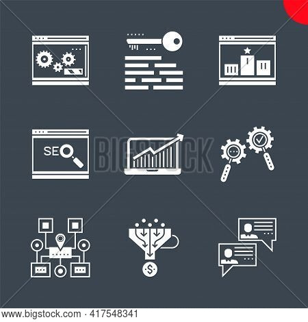 Glyph Icons Set With Flat Design Of Search Engine Optimization. Social Chanels, Keywording, Sales Fu