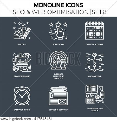 Line Icons Set With Flat Design Of Seo. Colors, Reputation, Events Calendar, Seo Monitoring, Interne