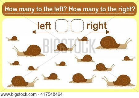 A Logic Game For Kids Called Left Or Right. Spatial Orientation With Snails. Training Sheet. Count H