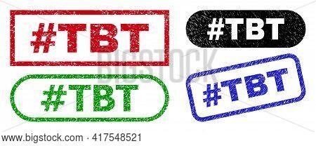 Hashtag Tbt Grunge Watermarks. Flat Vector Distress Watermarks With Hashtag Tbt Tag Inside Different