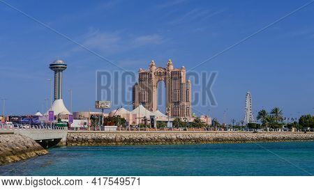 Abu Dhabi, Uae Feb 2021: View On Marina Mall And New Real Estate Development Project,luxurious Fairm