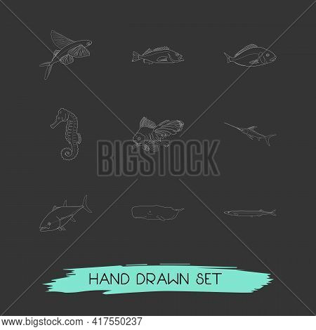 Set Of Sea Icons Line Style Symbols With Tuna, Aquatic, Swordfish And Other Icons For Your Web Mobil