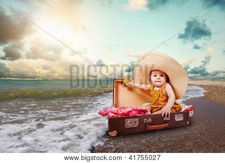 Funny Baby Girl Traveler