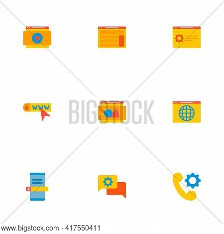 Set Of Website Development Icons Flat Style Symbols With Support Page, Website Video, Domain And Oth