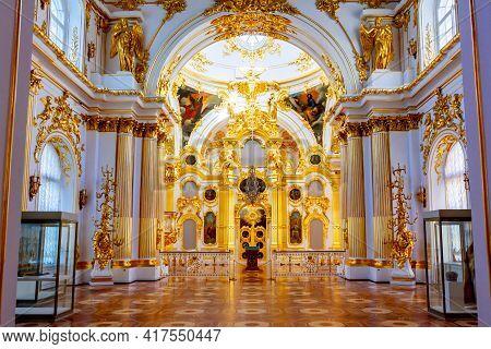 Saint Petersburg, Russia - April 2021: Interiors Of Grand Church Of Winter Palace (hermitage Museum)