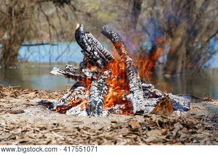 bonfire burning on the river bank, bright sunny day, beautiful nature, travel, hiking and camping concept