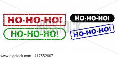 Ho-ho-ho Exclamation. Grunge Seal Stamps. Flat Vector Textured Stamps With Ho-ho-ho Exclamation. Tex