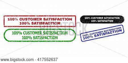 100 Percent Customer Satisfaction 100 Percent Satisfaction Grunge Stamps. Flat Vector Scratched Stam