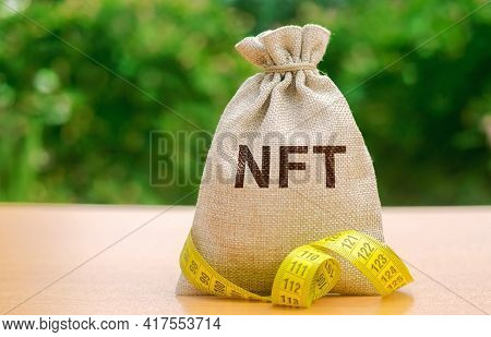 Money Bag Nft - Non-fungible Token. Digitally Represented Product Or Asset. Selling Digital Assets A