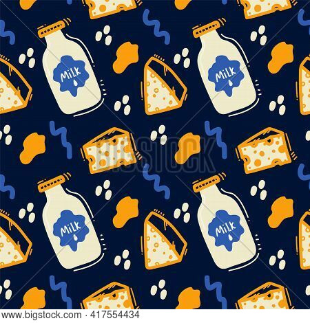 The Pattern Of Cheesy Dairy Products. Cheeses, Maasdam, Curd Cheese, Cream Cheese, Milk For Textile