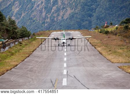 Lukla Airport And Airplane, Khumbu Valley, Solukhumbu, Everest Area, Nepal Himalayas, Lukla Is Gatew