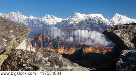 Panoramic View From Silijung Hill Of Mounts Everest Lhotse And Makalu, Great Himalayan Range, Nepal