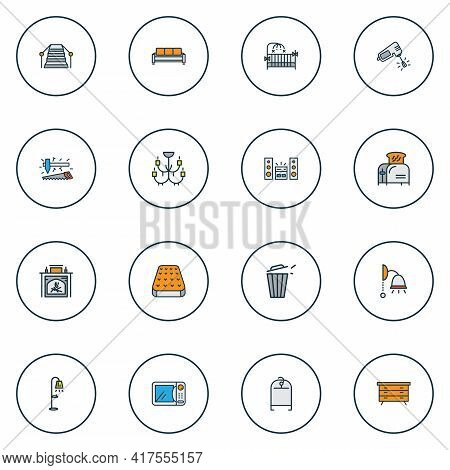 Decor Icons Colored Line Set With Dresser, Mixer, Carpenter Tools And Other Sofa Elements. Isolated