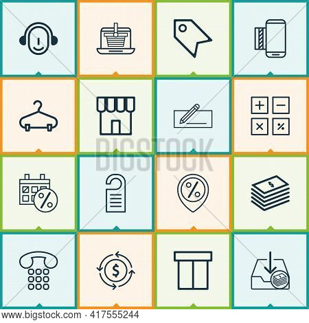 E-commerce Icons Set With Sales Location, Sales Day, Package And Other Peg Elements. Isolated Vector