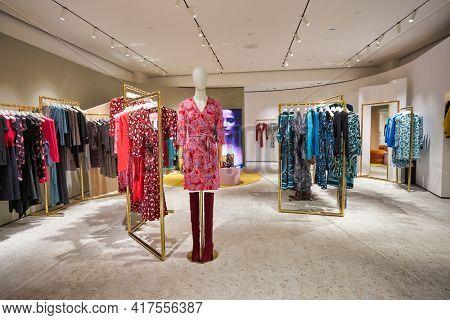 KUALA LUMPUR, MALAYSIA - CIRCA JANUARY, 2020: interior shot of Diane von Furstenberg store at Suria KLCC shopping mall in Kuala Lumpur.
