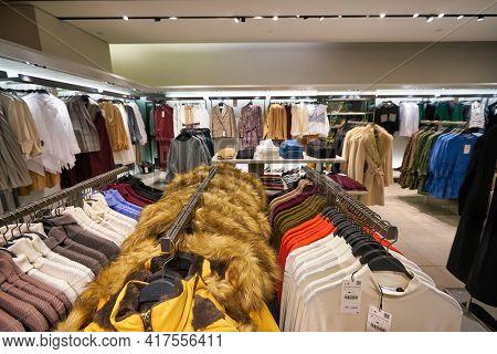 KUALA LUMPUR, MALAYSIA - CIRCA JANUARY, 2020: interior shot of Zara store at Suria KLCC shopping mall in Kuala Lumpur.