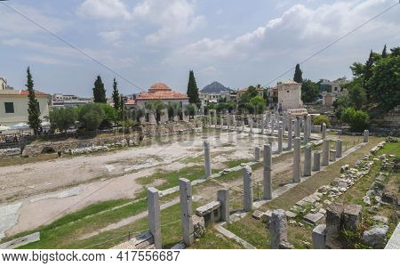 Ancient Roman Forum Agora Of Athens Ruins And The Tower Of The Winds, In Greece, In Sunny Summer Day