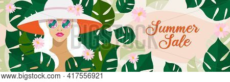 Portrait Of Blonde Woman With Long Hair And Summer Wide-brimmed Hat. Summer Sale Long Banner Concept