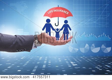Life insurance concept with family under umbrella