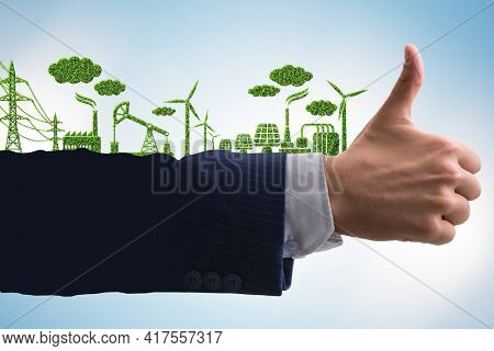 Green environment concept with businessman