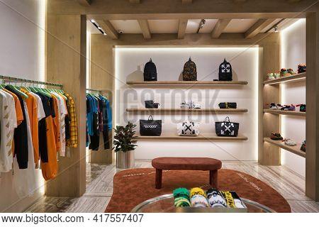 KUALA LUMPUR, MALAYSIA - CIRCA JANUARY, 2020: interior shot of Off-White store at Suria KLCC shopping mall in Kuala Lumpur.