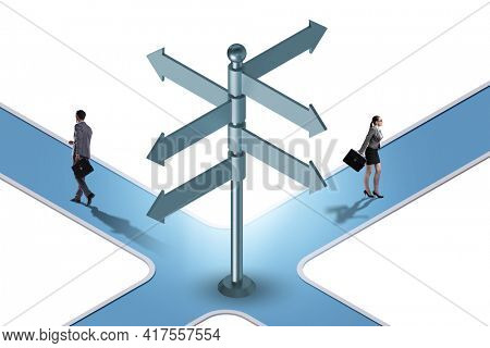 Business people at the crossroads choosing strategy