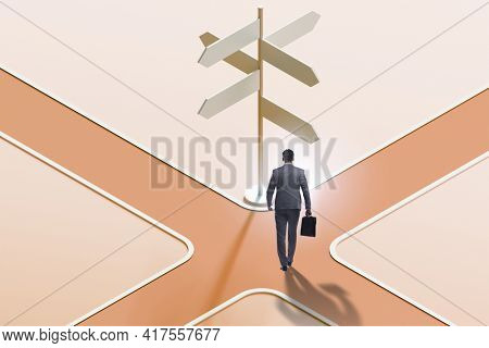 Businessman at the crossroads choosing strategy