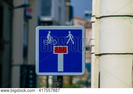 Reims France April 19, 2021 Street Sign Or Road Sign, Erected At The Side Of Or Above Roads To Provi