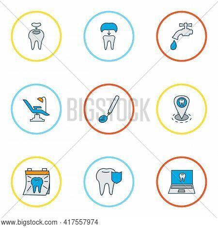 Enamel Icons Colored Line Set With Dentist, Stomatology Tool, Carries Defense And Other Alumina Elem
