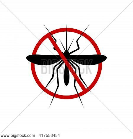 Stop Mosquito Icon. Anti Gnat Forbidden Sign For Insect Spray Killer Repellent Isolated On White Bac