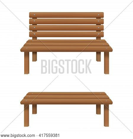 Wooden Benches With And Without Back Isolated On White Background. Outdoor Sitting Furniture For Pat