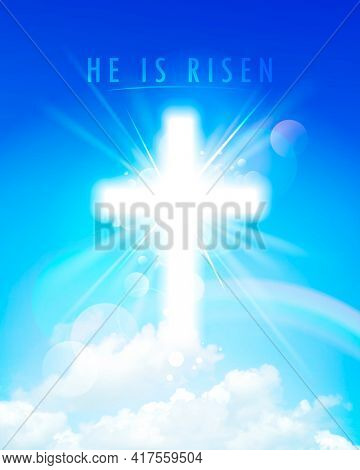 He is risen, religious card with shining cross on a sky backdrop, rasterized version