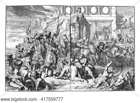 French invasion and breaking of the unity of the Union, vintage engraving.