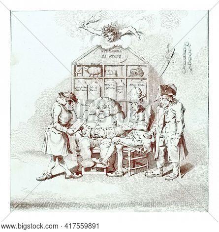 General Welfare Committee, vintage engraving.