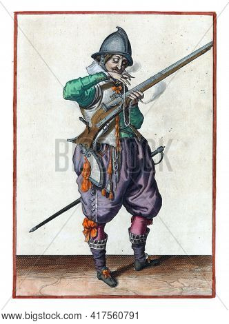 A soldier on guard, full-length, to the right, holding a rudder (a certain type of firearm) with his left hand. With his right hand he brings a burning wick to his mouth to blow it clean