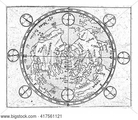 Map of the Northern Hemisphere in a polar projection. The map follows the map image of Mercator and shows several large islands at the North Pole