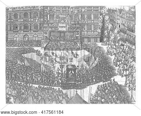 Taking the oath by the Duke of Anjou to the city of Antwerp on the Grote Markt in front of the town hall, vintage engraving.