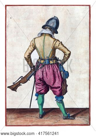 A soldier, full-length, seen from the back, holding a rudder (a certain type of firearm) with his left hand by his left thigh, the barrel pointing upwards