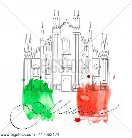 Milan Cathedral - symbol of italian city over watercolor painting in italian national flag colors. Sights of Italy, minimalistic single continuous line drawing