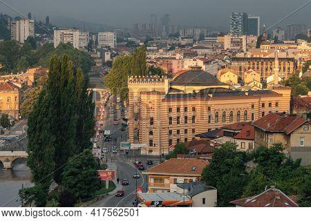 Sarajevo , BiH - August 27, 2019: View of the historic centre of Sarajevo , Bosnia and Herzegovina