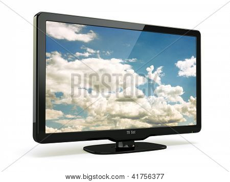 High Definition TV with cloud sky on screen. 3d